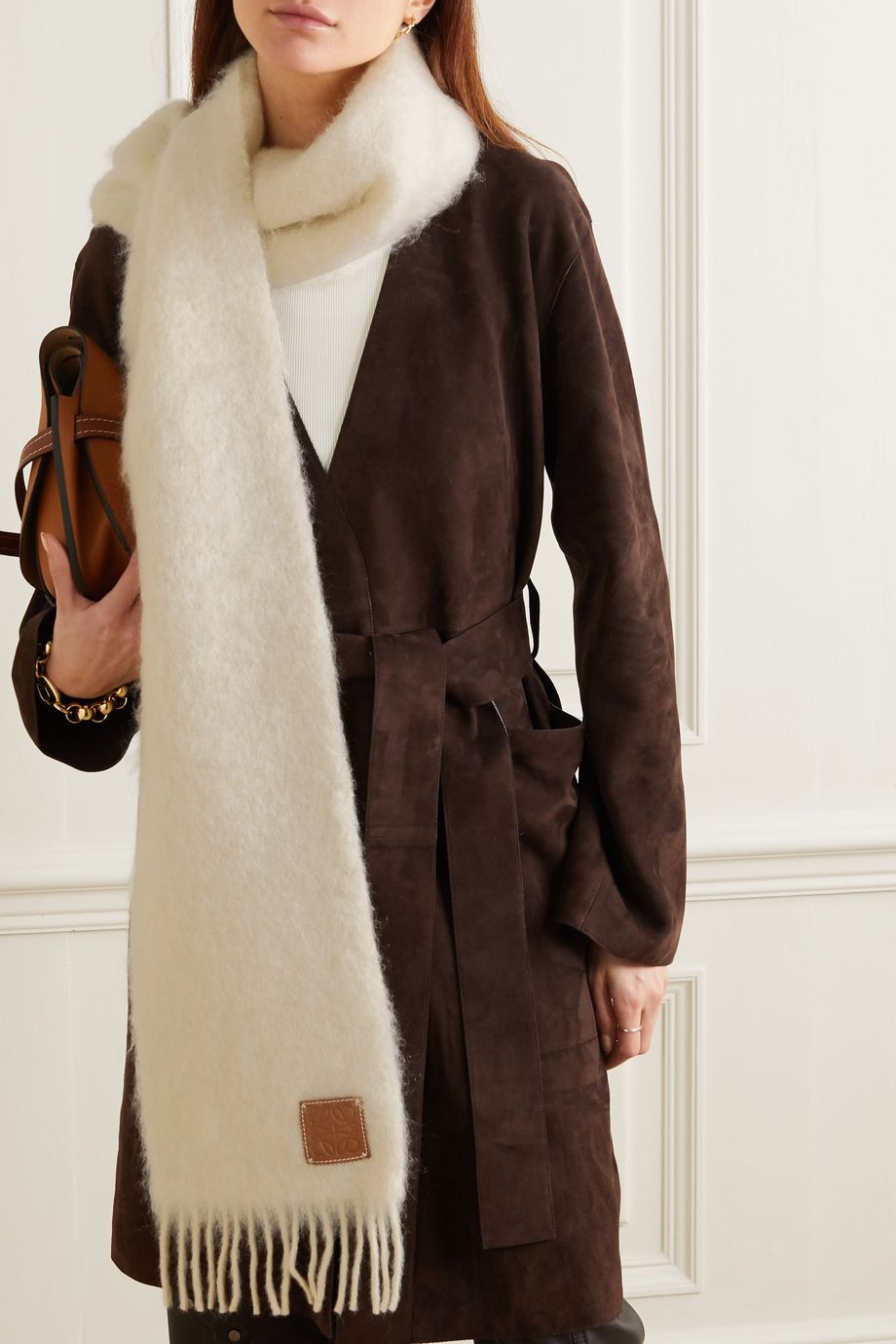 Loewe Leather-trimmed fringed mohair-blend scarf