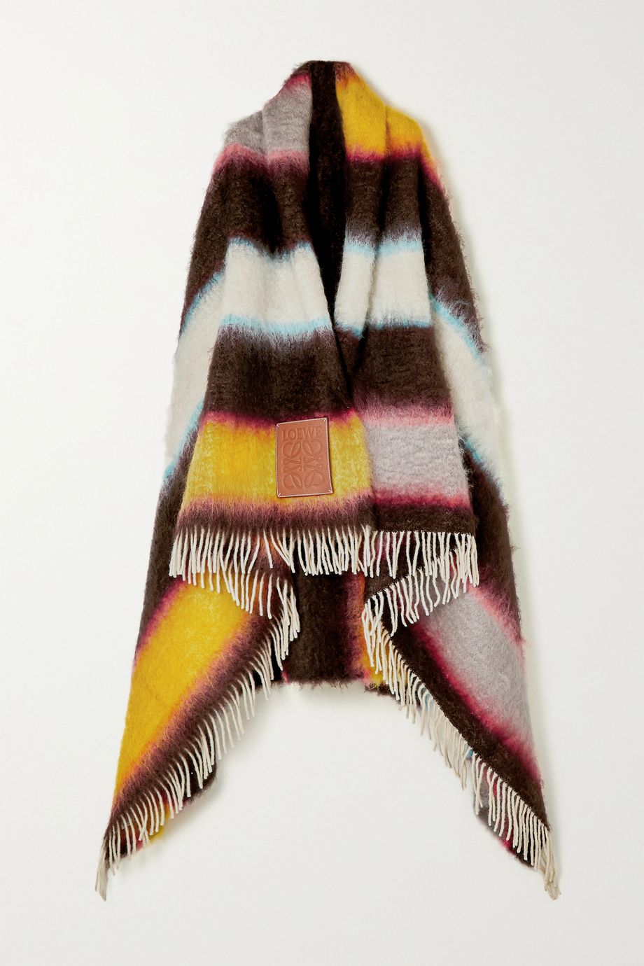 Loewe Leather-trimmed fringed striped mohair-blend wrap