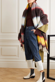 Leather-trimmed fringed striped mohair-blend wrap