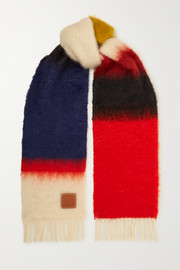 Loewe Leather-trimmed fringed color-block mohair-blend scarf