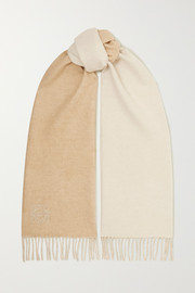 Fringed embroidered two-tone wool and cashmere-blend scarf