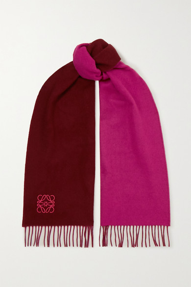 Anagram Embroidered Fringed Two Tone Wool And Cashmere Blend Scarf by Loewe