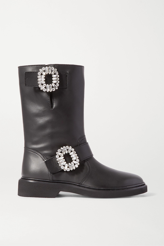 Roger Vivier Viv crystal-embellished leather boots