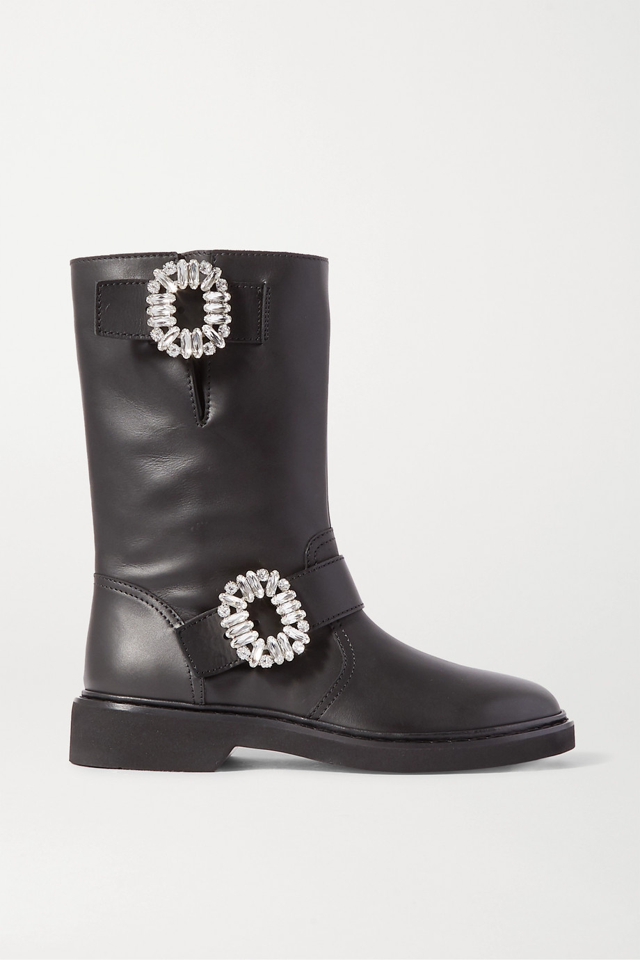 Roger Vivier Viv crystal-embellished leather boots