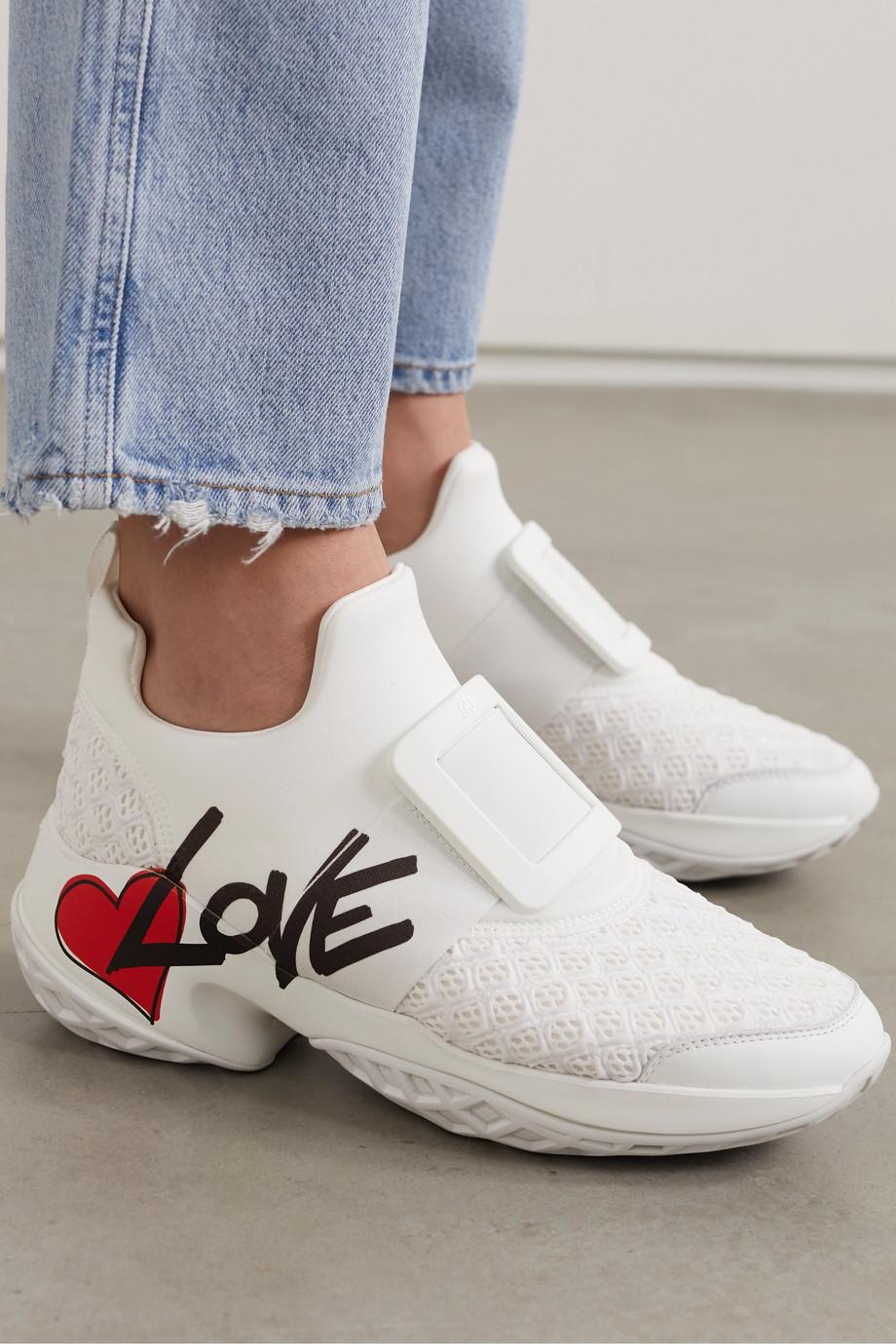 Roger Vivier Viv Run Lovely 印花氯丁橡胶网眼皮革运动鞋