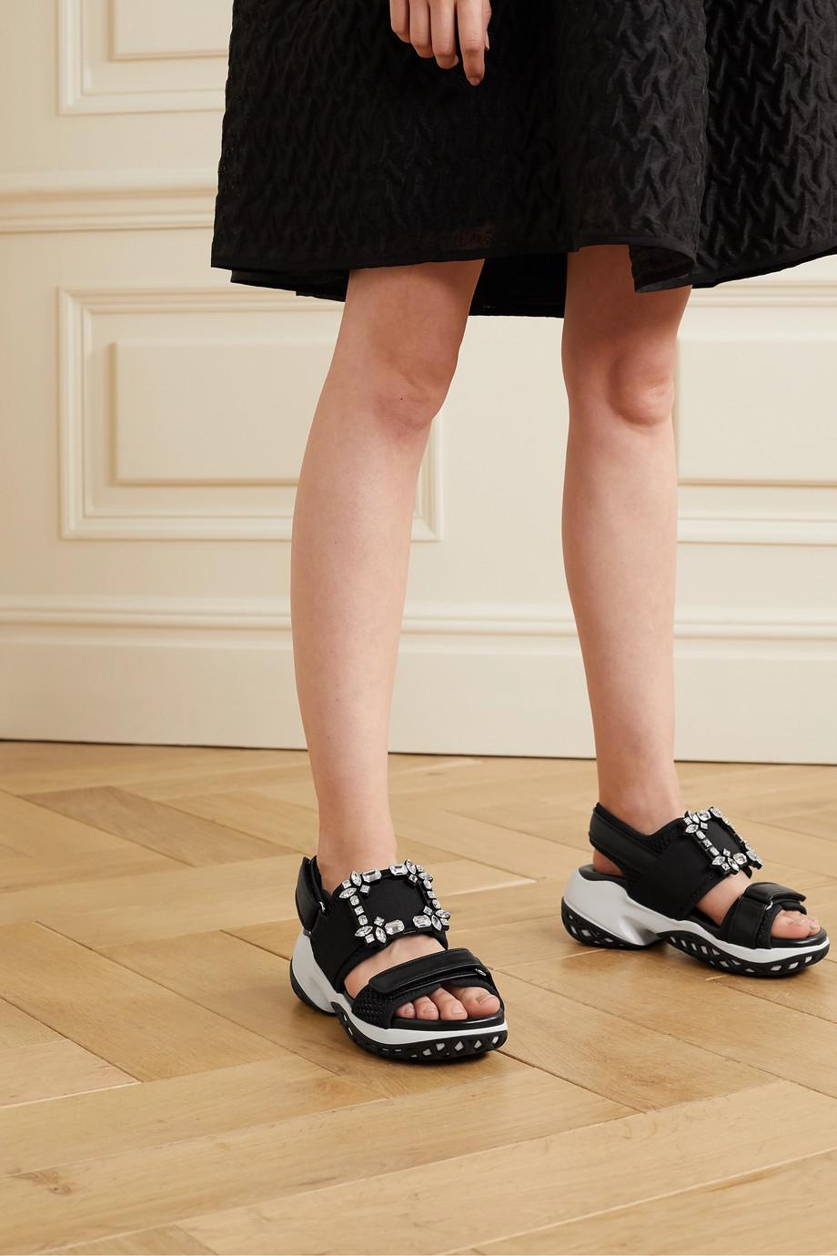 Roger Vivier Viv Run crystal-embellished mesh and leather sandals