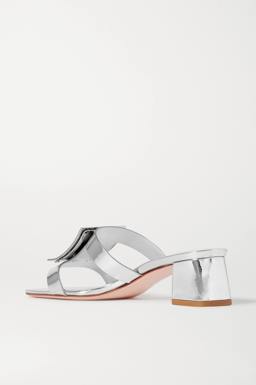 Roger Vivier Bikiviv' embellished metallic leather mules