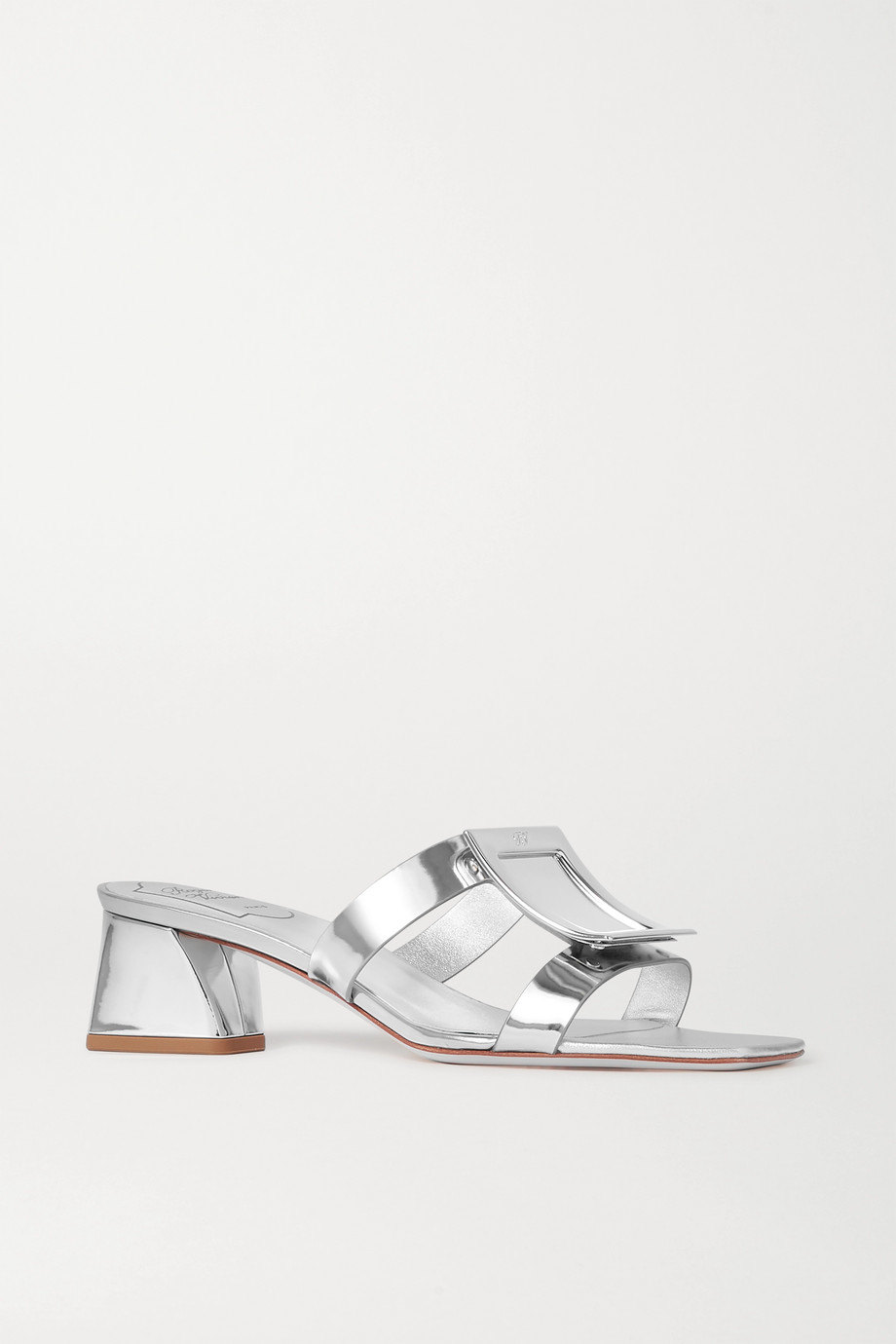 Roger Vivier Bikiviv' embellished metallic leather mules