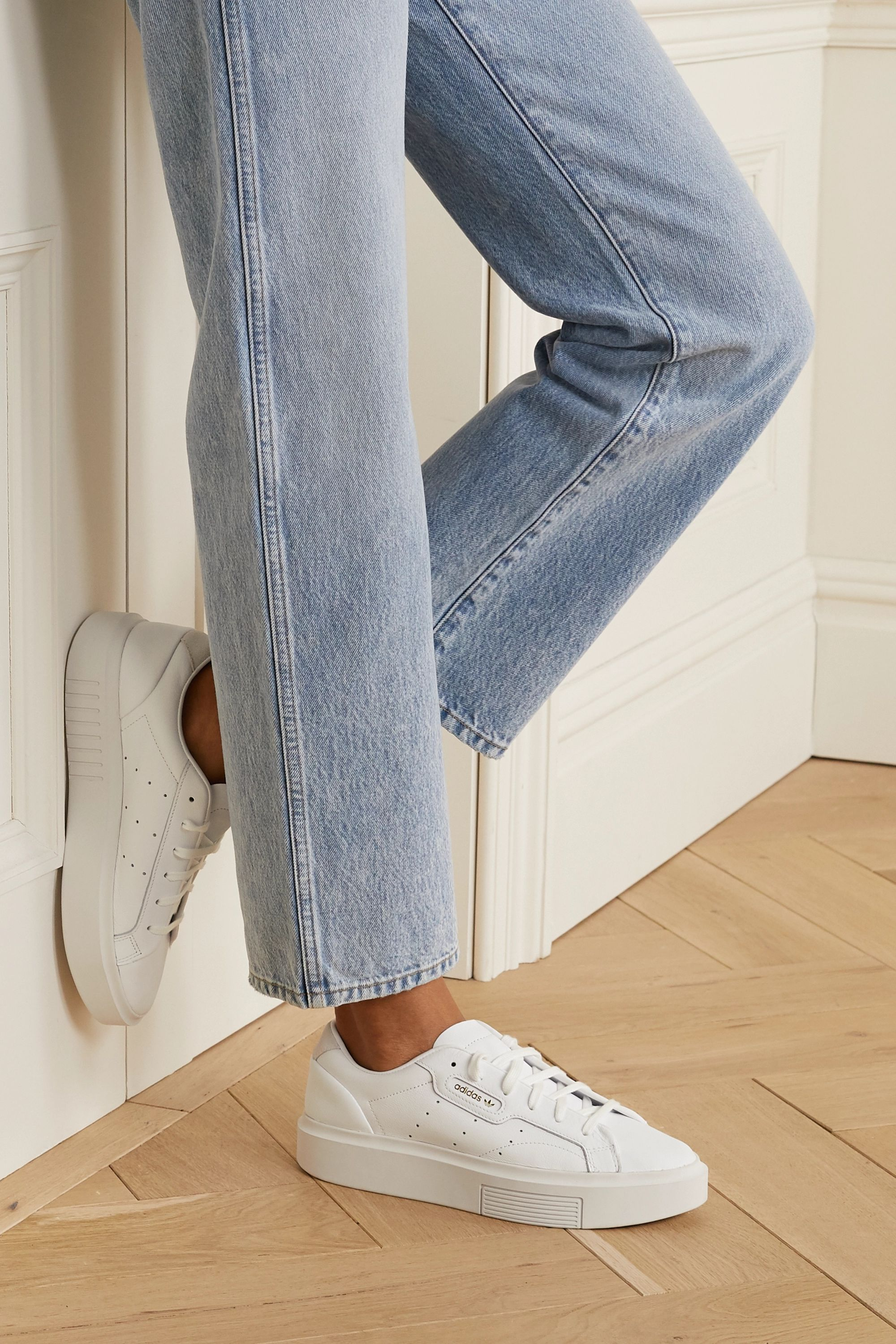 White Sleek Super suede-trimmed leather