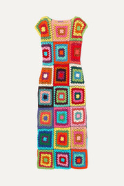 Patchwork metallic crochet-knit cotton maxi dress