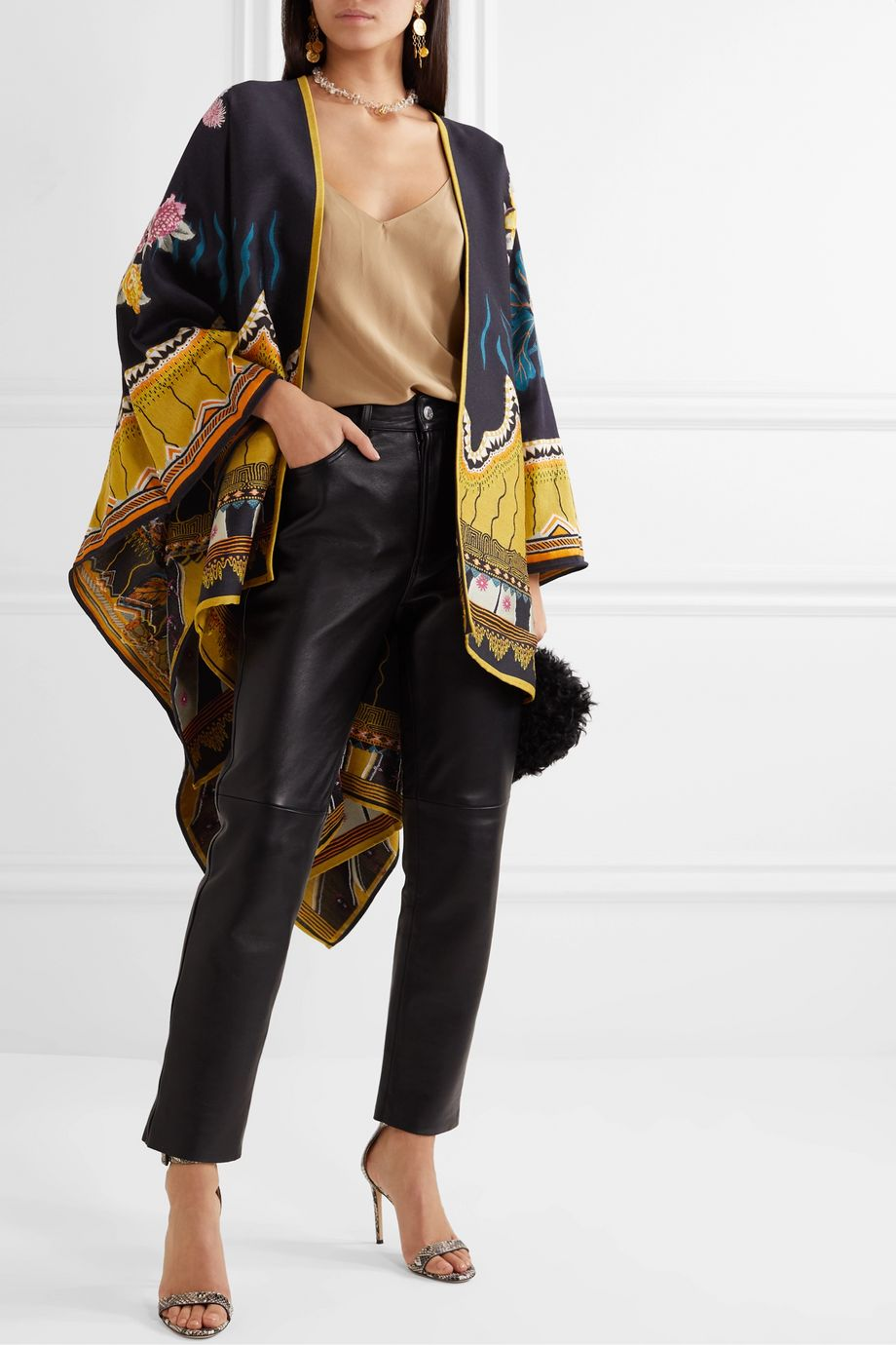 Etro Floral-jacquard wool-blend wrap