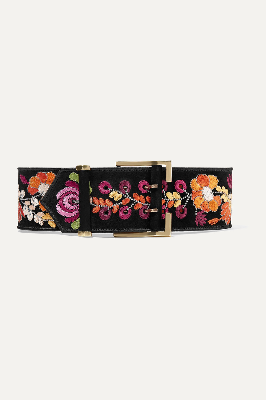 Etro Embroidered suede waist belt