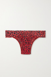 On The Prowl leopard-print stretch-lace thong