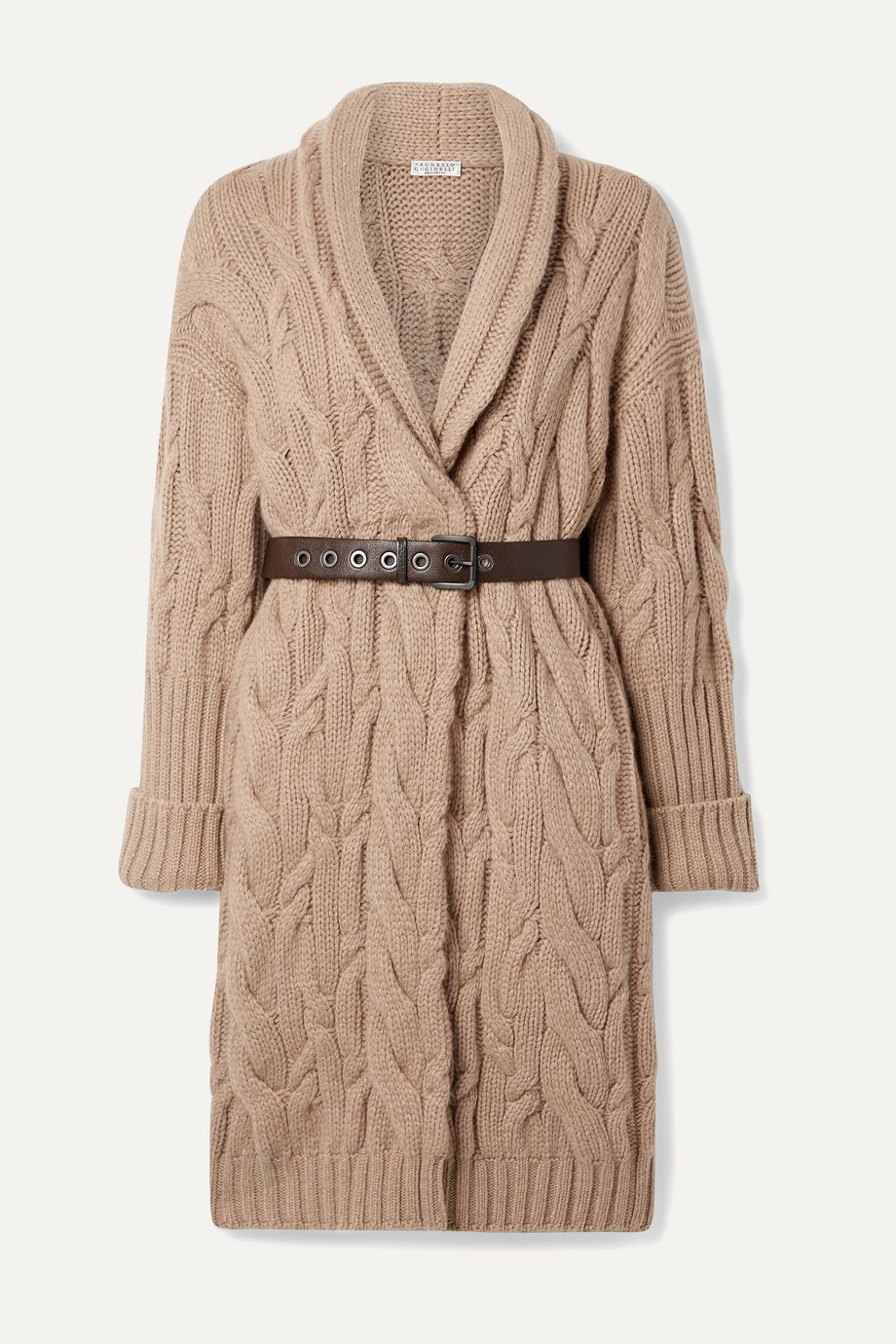 Brunello Cucinelli Oversized belted cable-knit cashmere cardigan