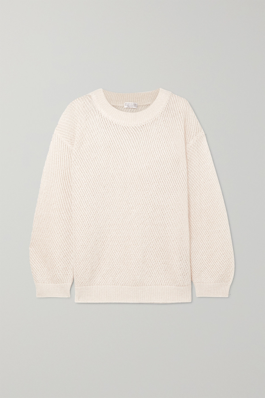 Brunello Cucinelli Metallic open-knit sweater