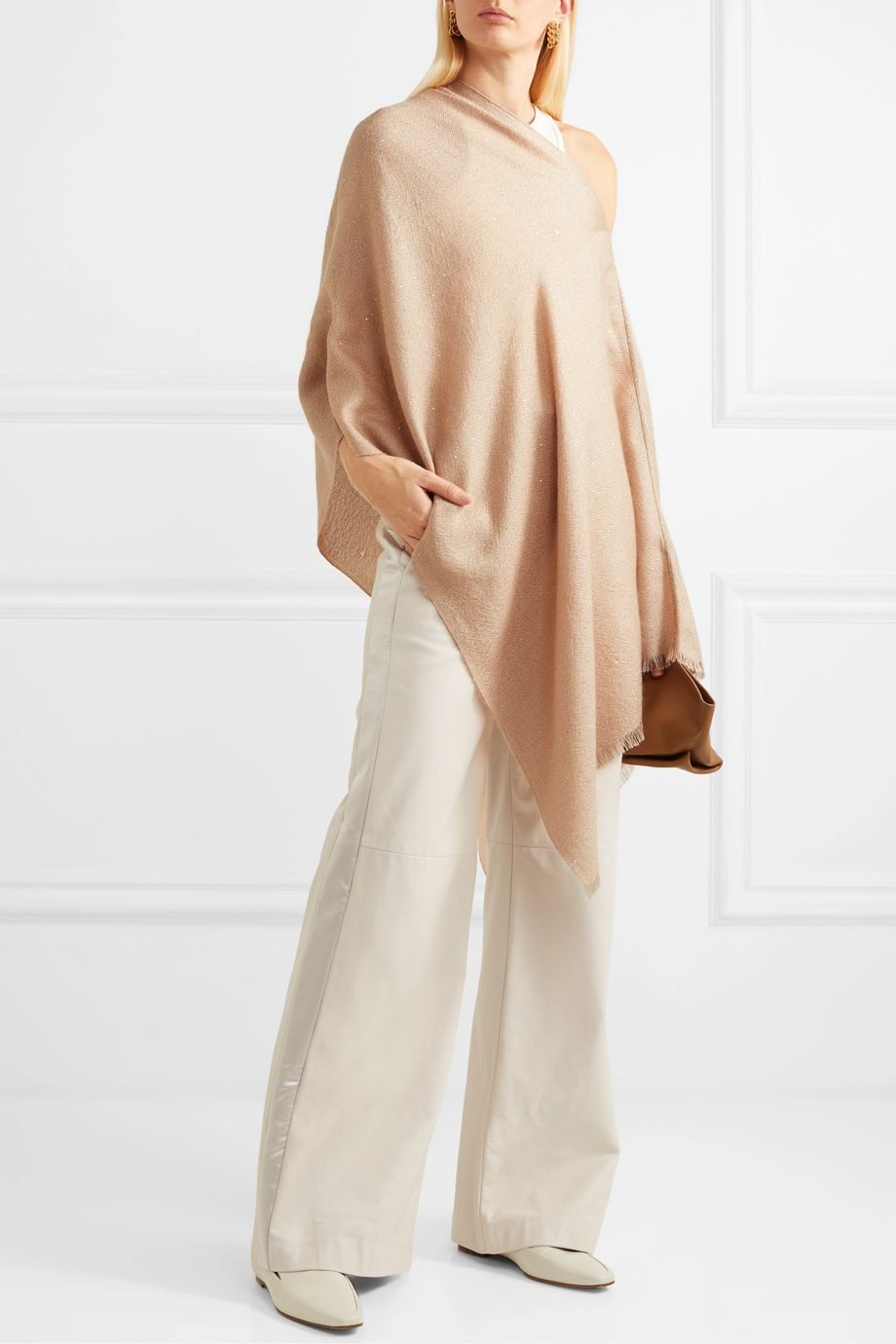 Brunello Cucinelli Sequin-embellished knitted poncho