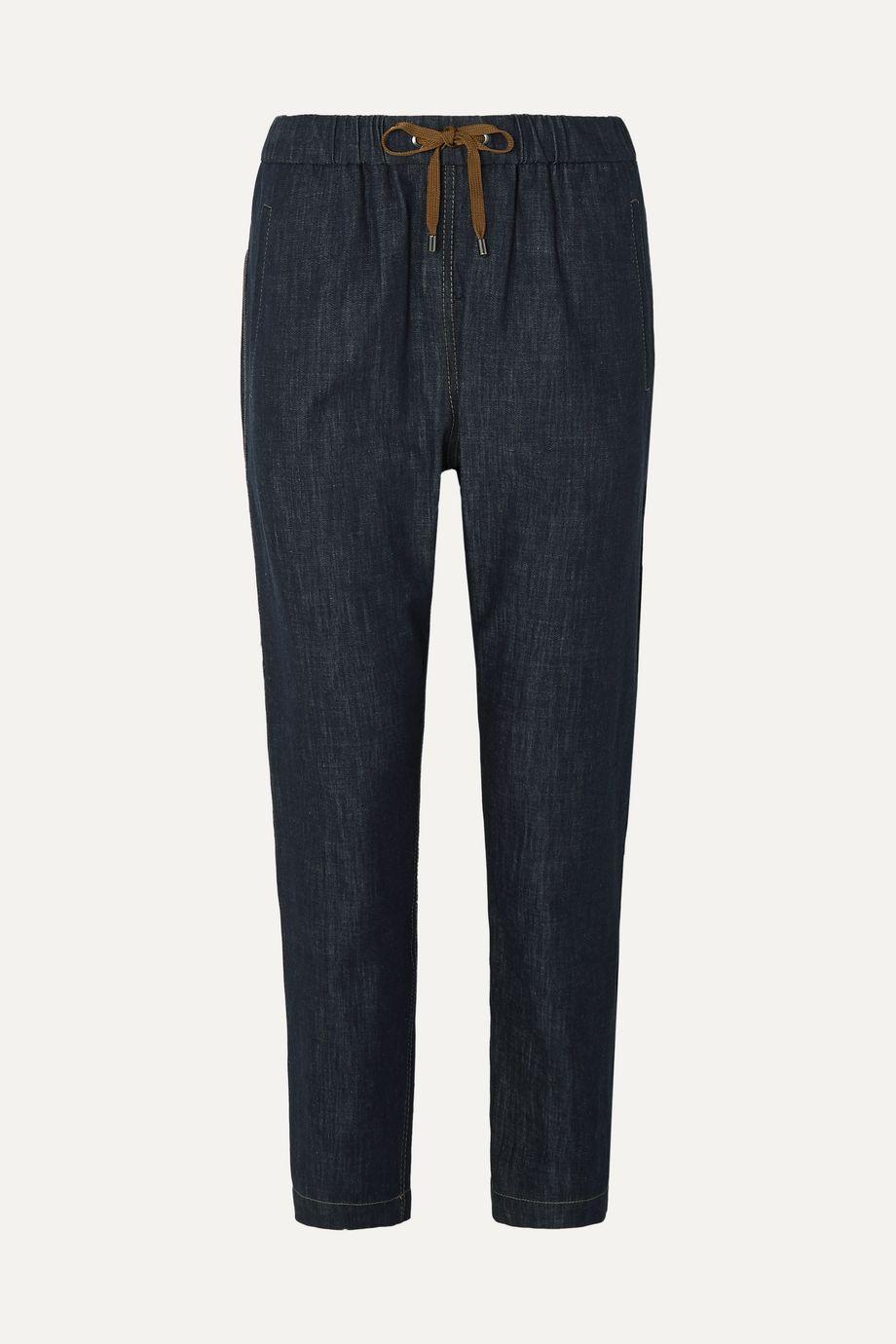Brunello Cucinelli Bead-embellished denim tapered pants