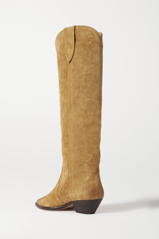 Beige Denvee Suede Knee Boots   Isabel Marant