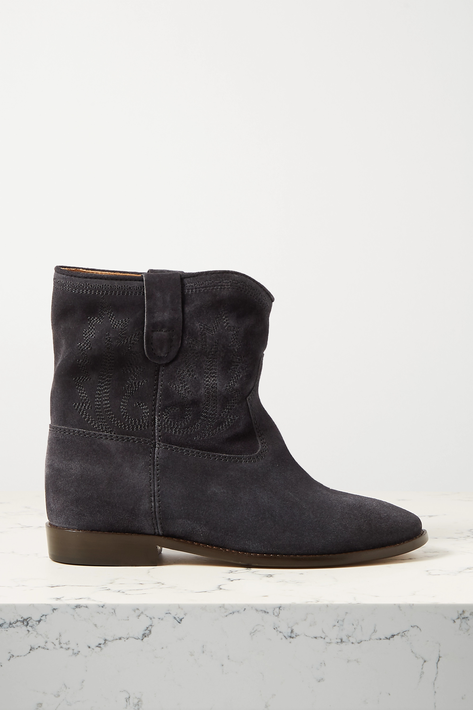 Charcoal Crisi embroidered suede ankle