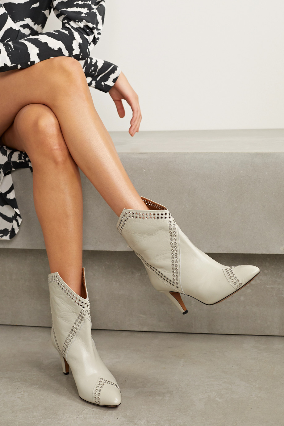 Isabel Marant Demka eyelet-embellished textured-leather ankle boots