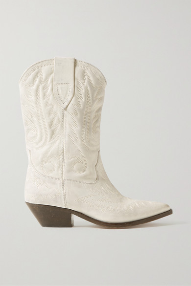 Isabel Marant Duerto Texan Ankle Boots In White Leather