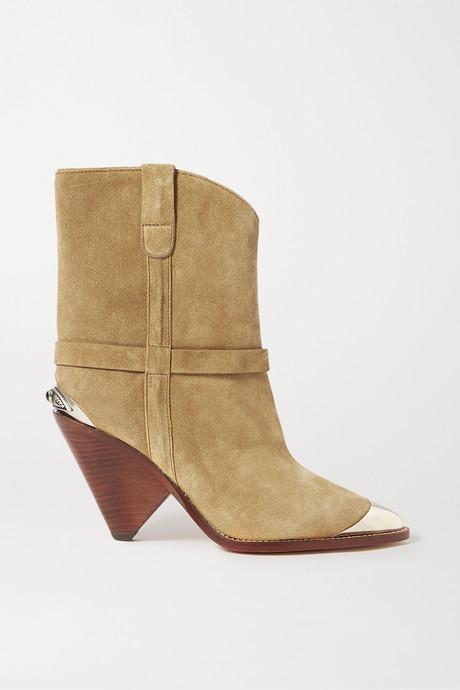 Beige Lamsy embellished suede ankle boots   Isabel Marant PtNc9D