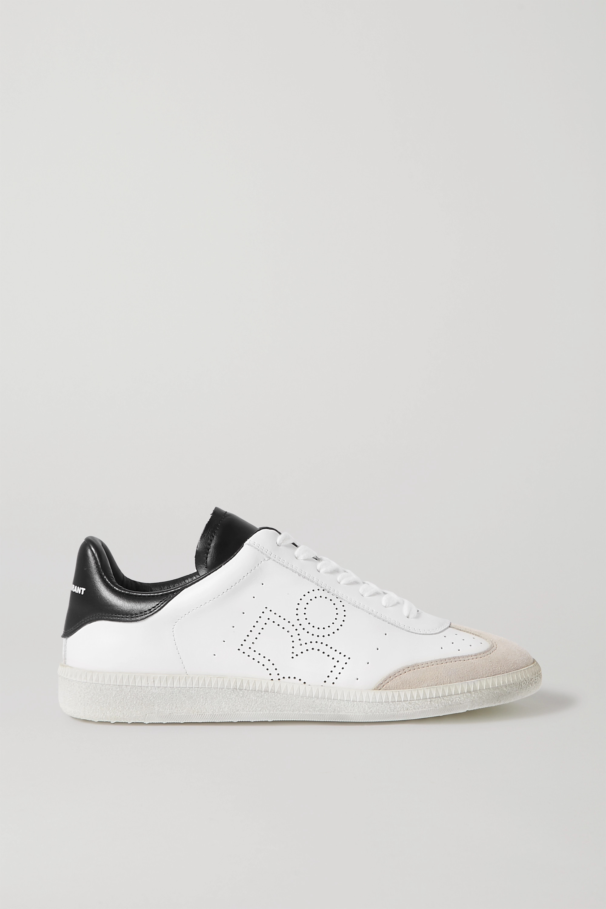 White Bryce suede-trimmed perforated
