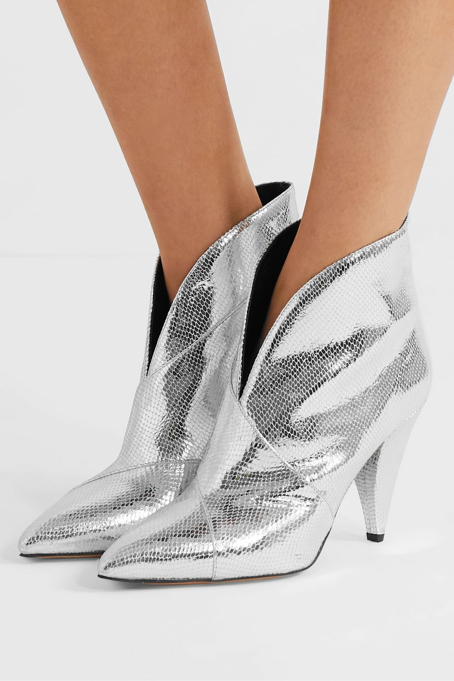 Isabel Marant Archenn metallic lizard-effect leather ankle boots