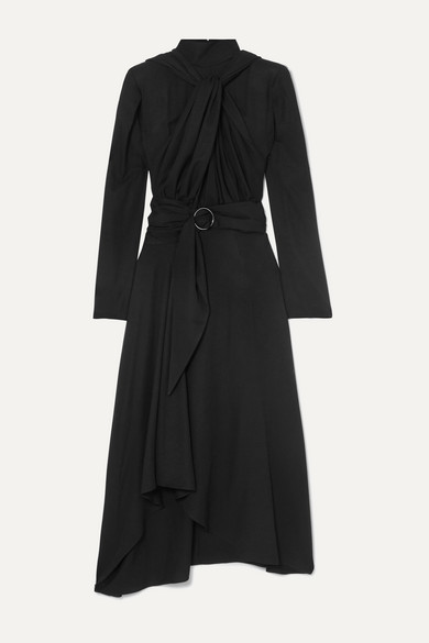 Belted Knotted Twill Midi Dress by Lado Bokuchava