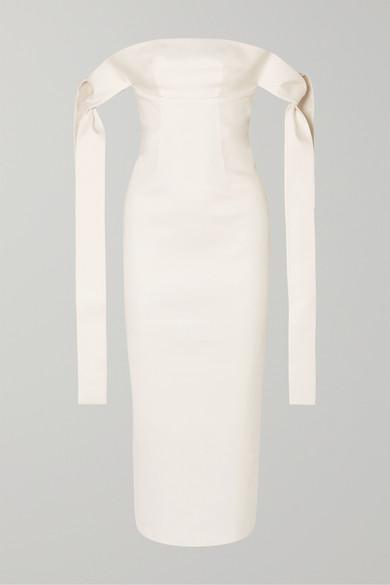 Off The Shoulder Draped Cotton Twill Midi Dress by Lado Bokuchava