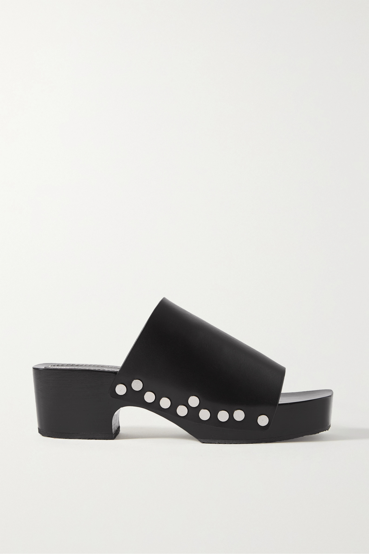 Black Studded leather platform mules