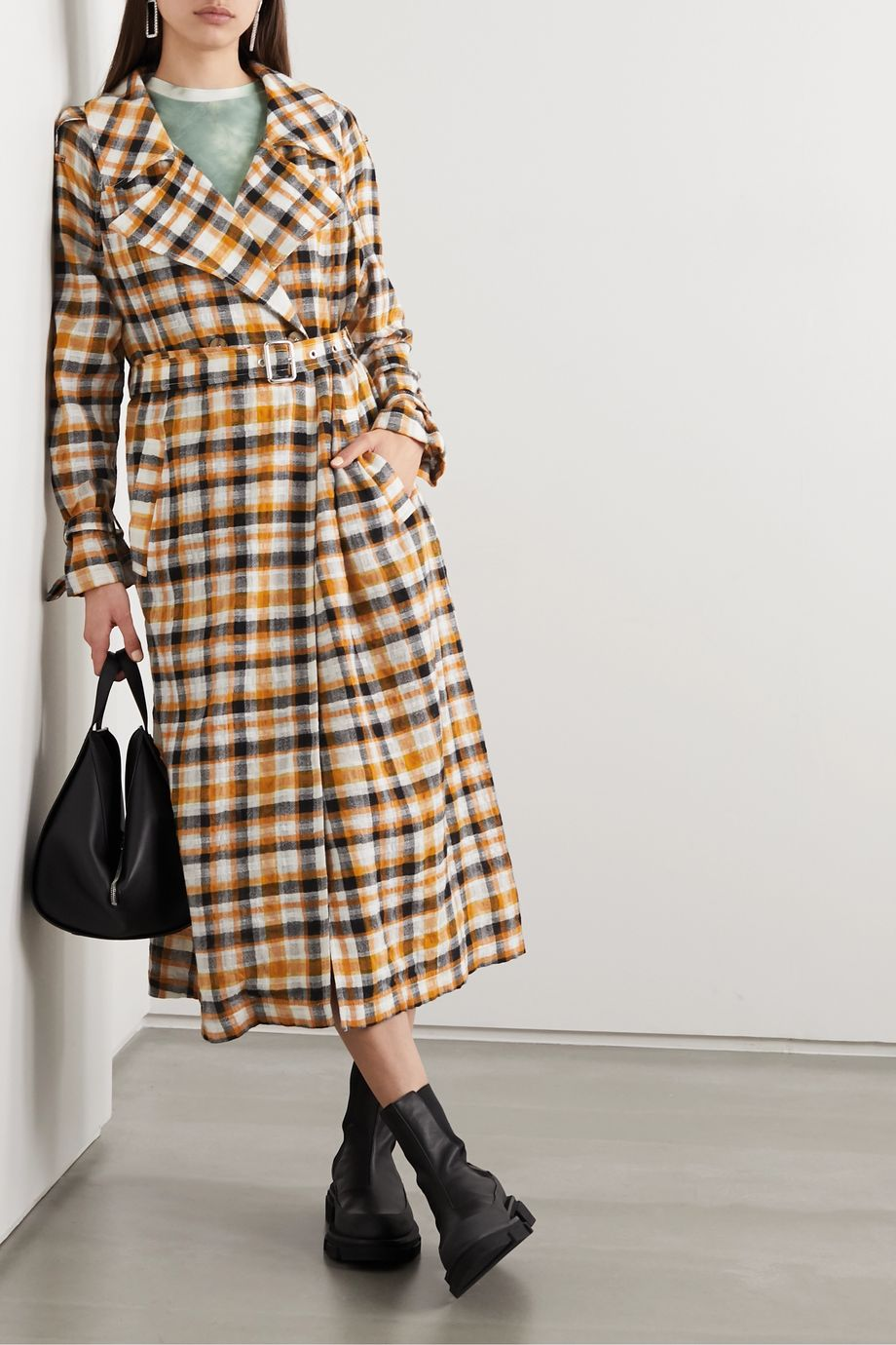McQ Alexander McQueen Checked cotton and wool-blend gauze trench coat