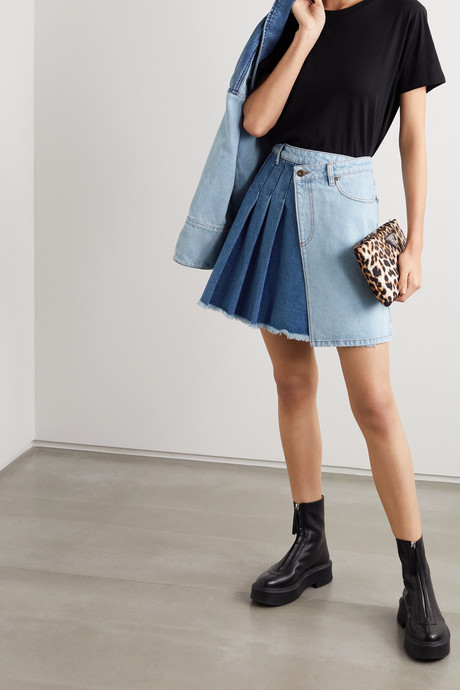 Maru pleated two-tone denim wrap mini skirt