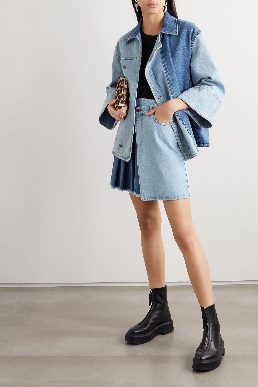 MCQ Mini-jupe portefeuille en jean bicolore à plis Maru