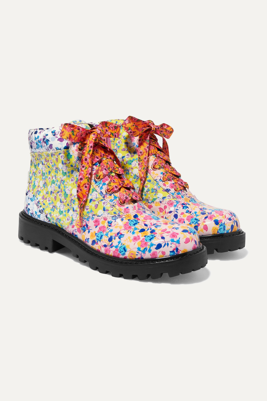 Sophia Webster Kids Size 21 - 34 Tia paneled floral-print patent-leather ankle boots