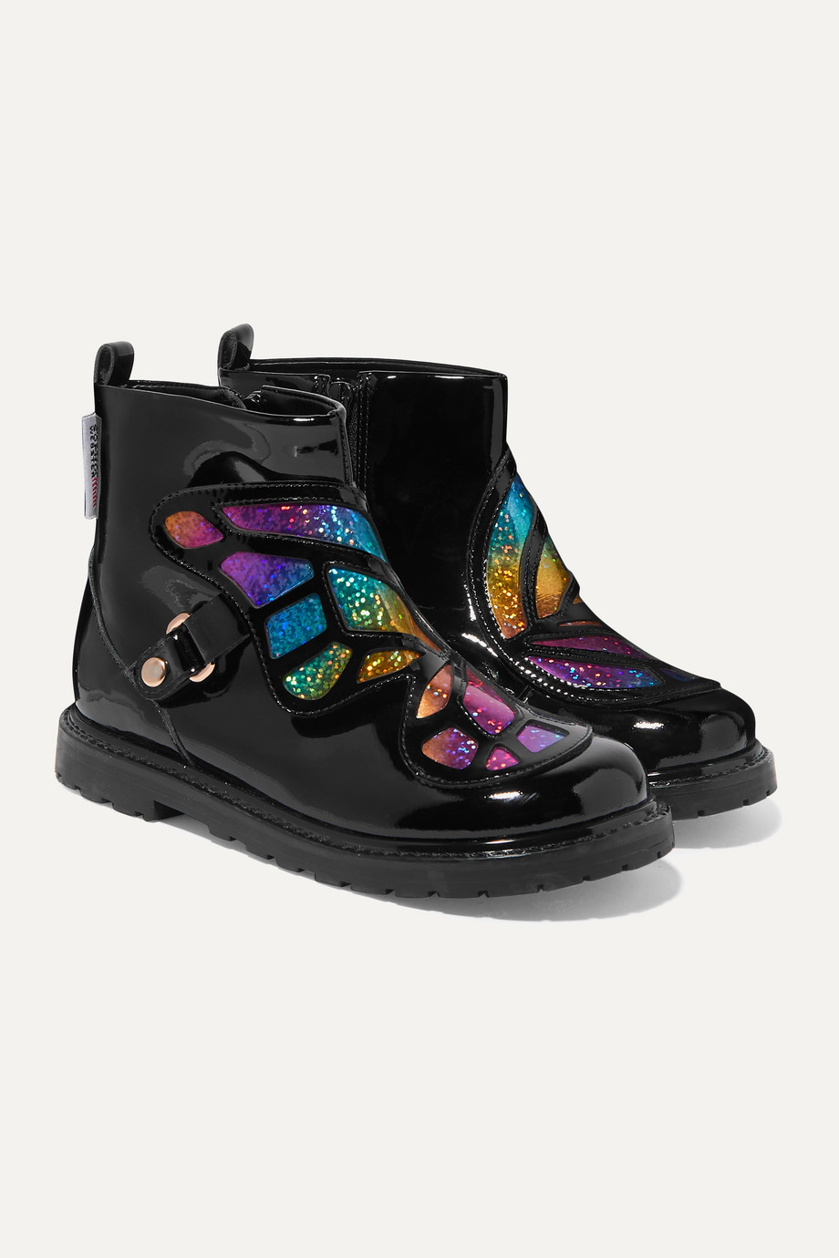 Sophia Webster Kids Size 21 - 34 Karina Butterfly glittered patent-leather boots