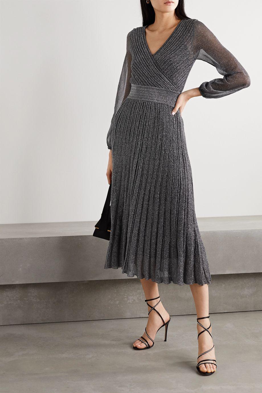 Missoni Wrap-effect metallic crochet-knit midi dress