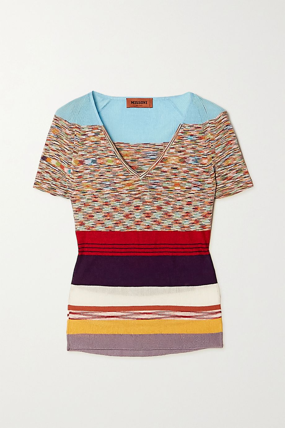 Missoni Striped crochet-knit cotton-blend top