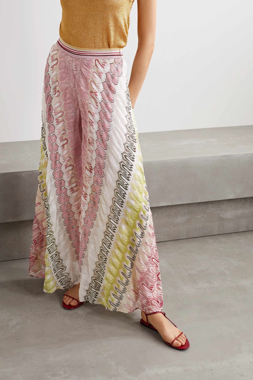 Missoni Metallic crochet-knit silk-blend wide-leg pants