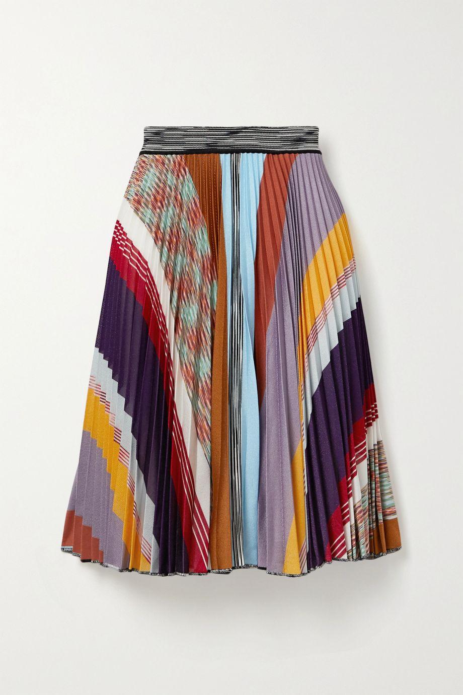 Missoni Pleated striped crochet-knit skirt