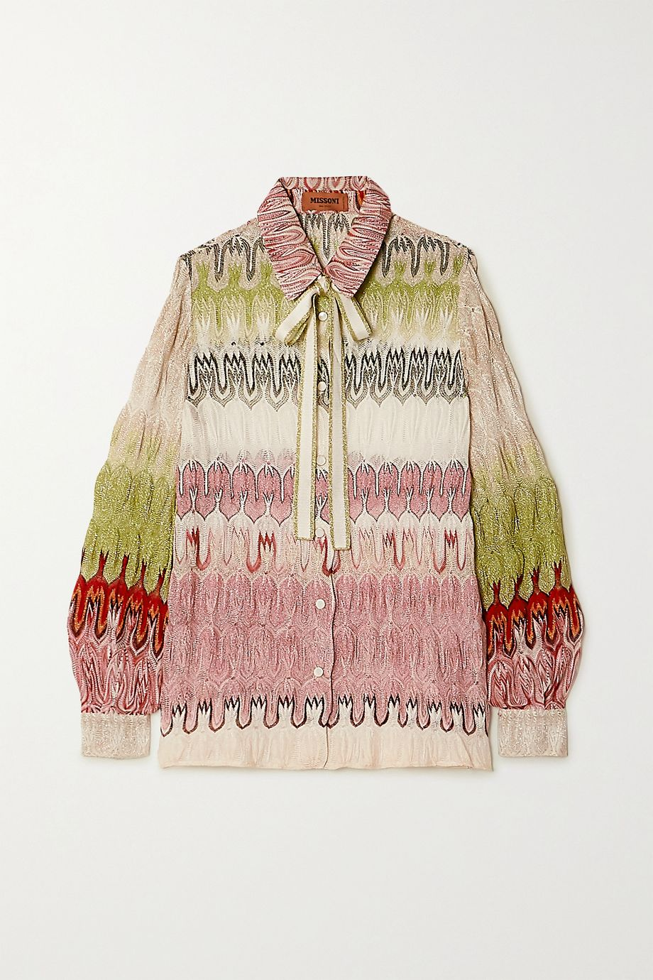 Missoni Pussy-bow metallic crochet-knit shirt
