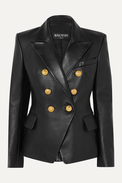 Balmain Blazers Double-breasted leather blazer
