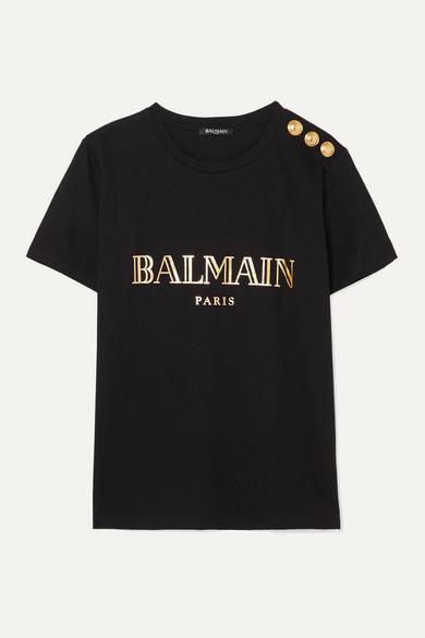 Balmain Shirts Button-embellished printed cotton-jersey T-shirt