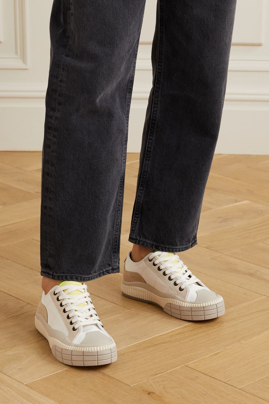Chloé Clint suede, leather and rubber-trimmed canvas sneakers