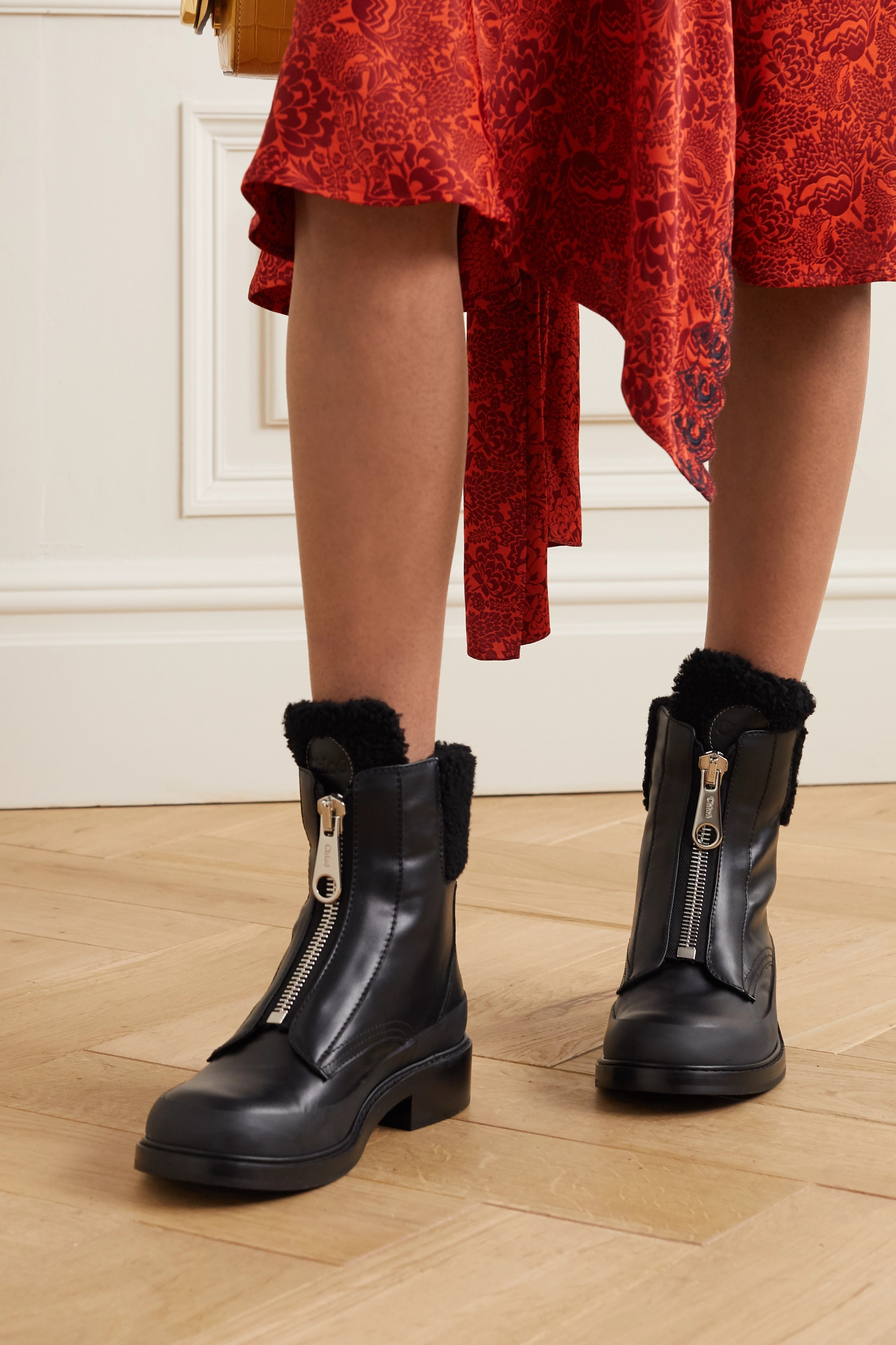 Roy shearling lined leather ankle boots