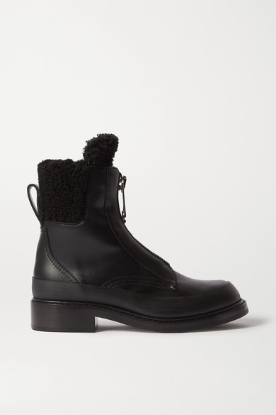 roy-shearling-lined-leather-ankle-boots by chloé