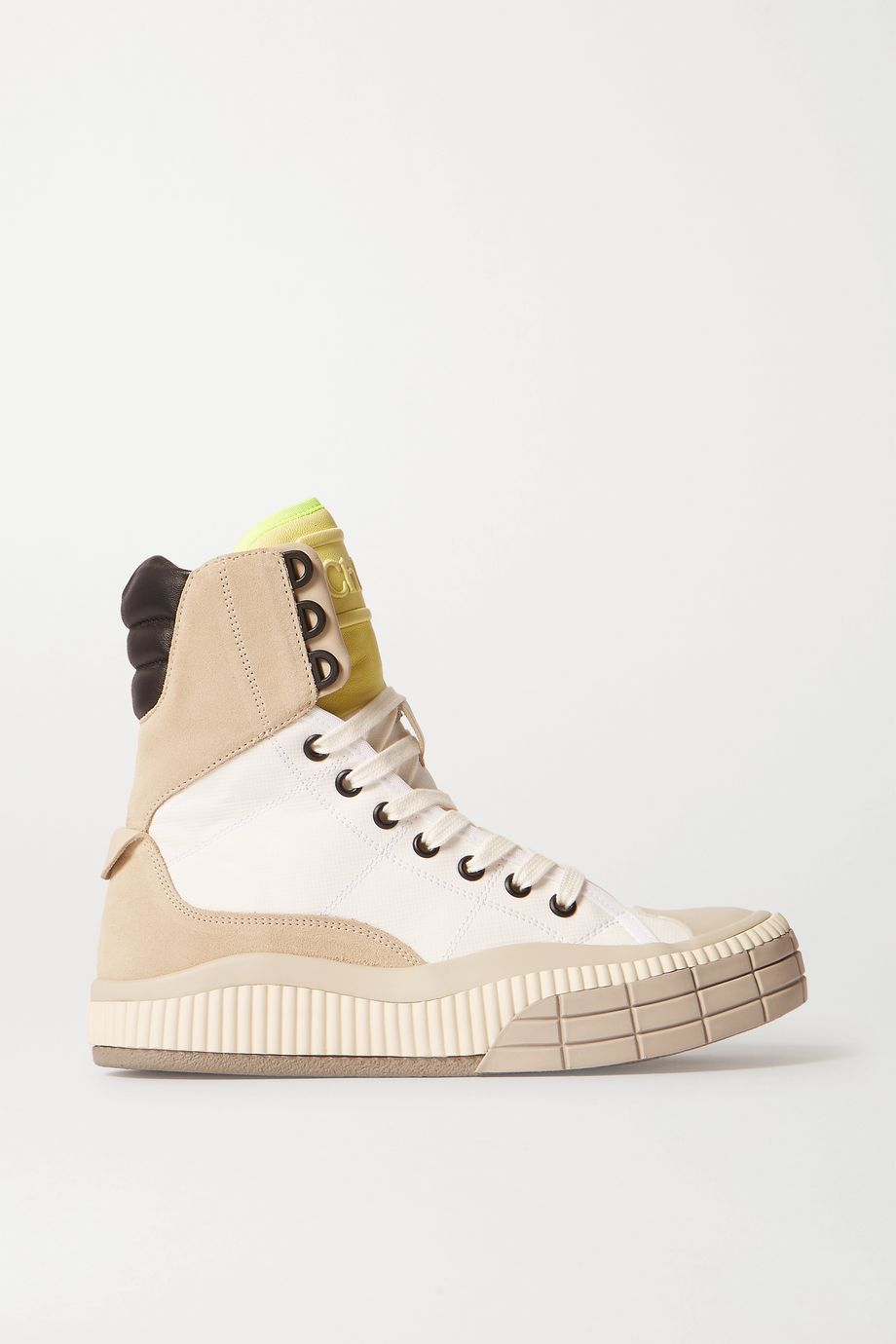 Chloé Clint suede, leather and rubber-trimmed canvas high-top sneakers