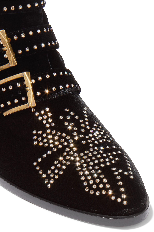 Chloé Susanna crystal-embellished velvet ankle boots