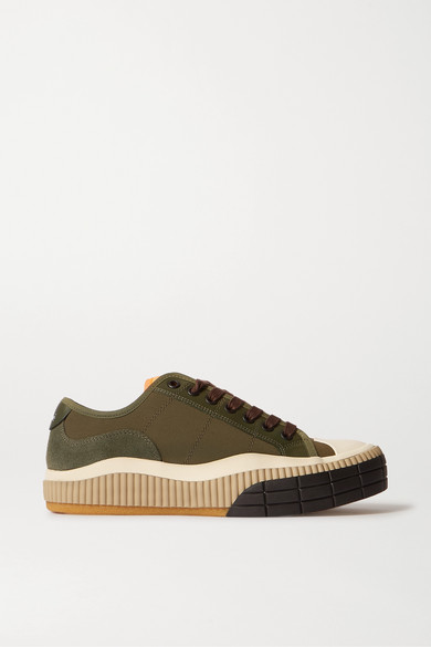 Chloé Flats CLINT SUEDE, LEATHER AND RUBBER-TRIMMED CANVAS SNEAKERS