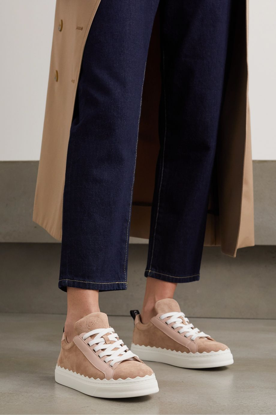 Chloé Lauren scalloped suede and leather sneakers